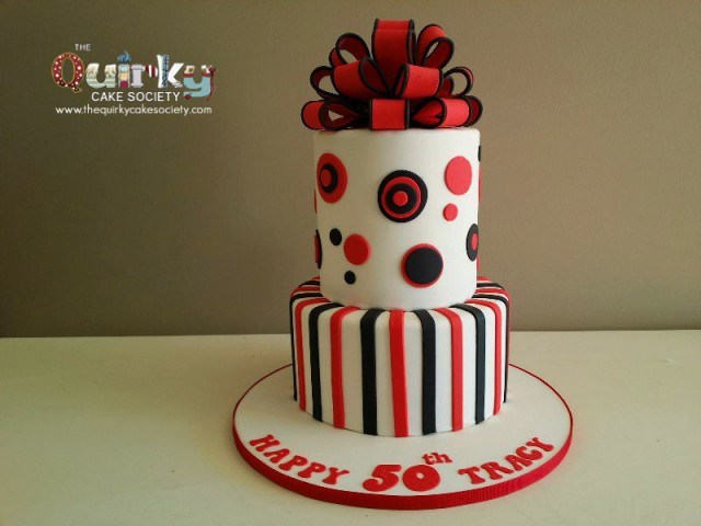 Red Dots and stripes cake