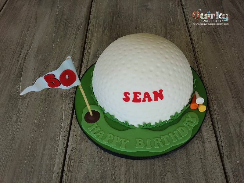 Remarkable 50Th Golf Ball Cake The Quirky Cake Society Personalised Birthday Cards Arneslily Jamesorg