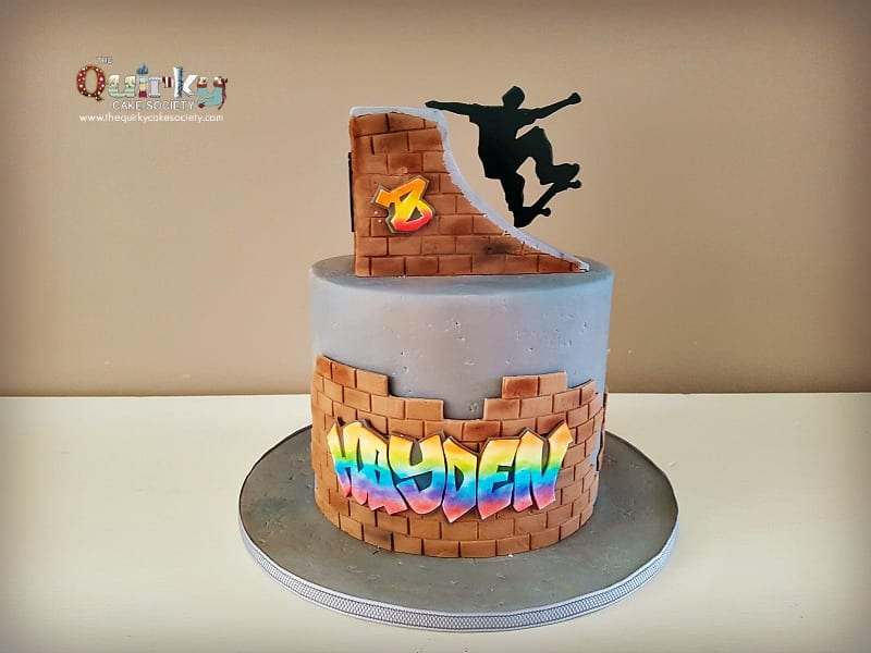 Wondrous Silhouette Skateboarder Cake The Quirky Cake Society Funny Birthday Cards Online Elaedamsfinfo