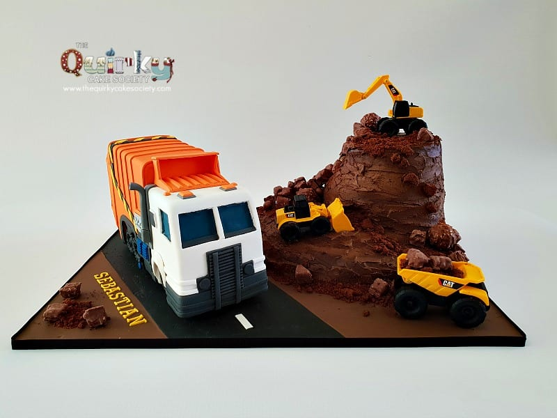 Swell Garbage Truck And Construction Cake The Quirky Cake Society Personalised Birthday Cards Veneteletsinfo