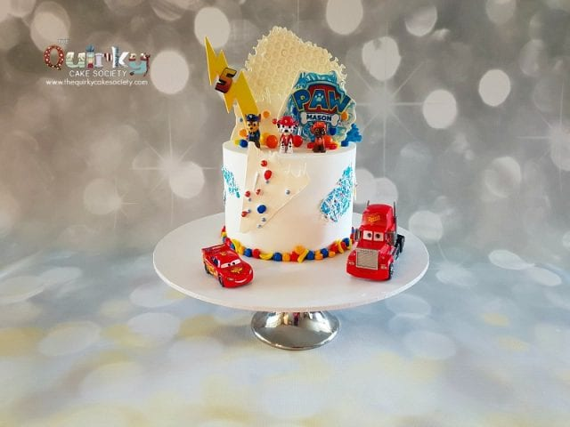 Lighten McQueen and Paw Patrol Buttercream Cake