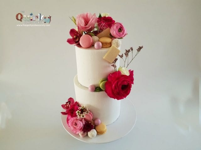 Floral 50th Buttercream cake