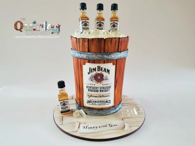 Jim Beam Wooden ice bucket cake