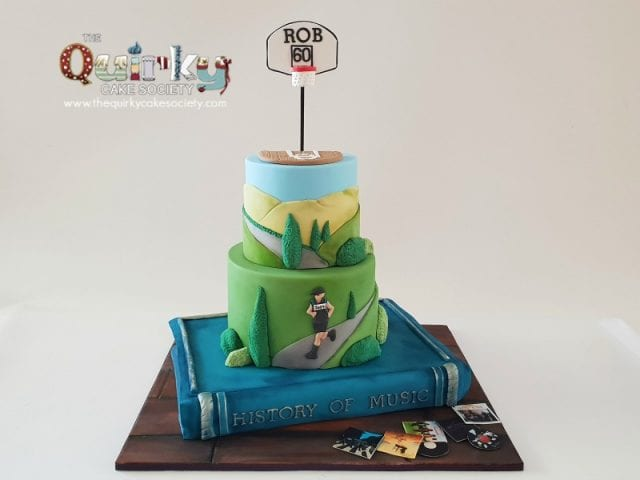 Marathon, Basketball,Music and Reading cake