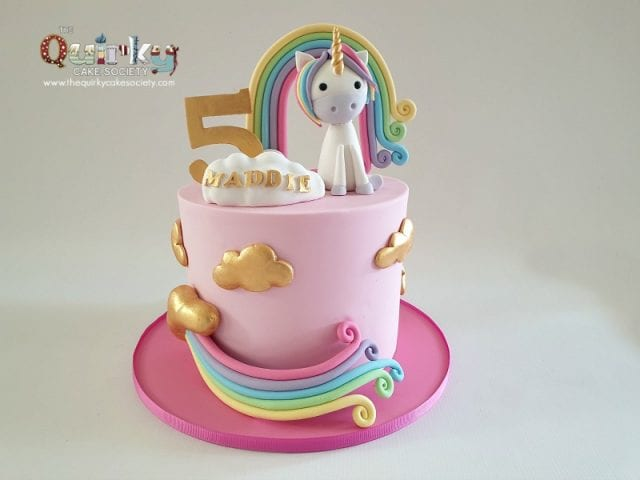 Unicorn Rainbow and Fluffy Gold clouds cake