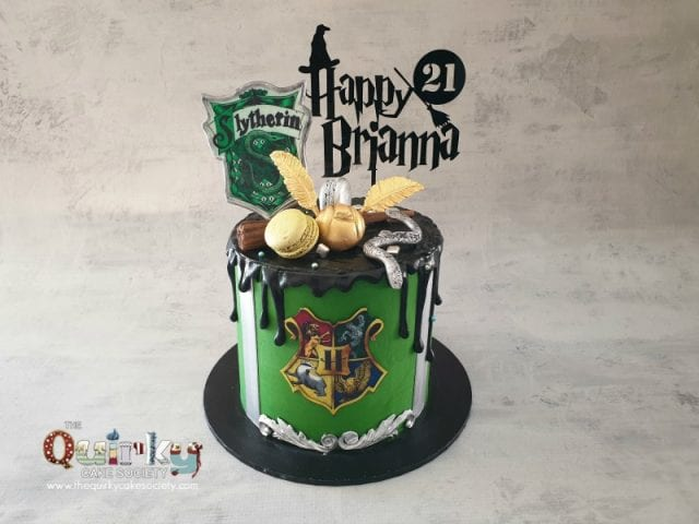 Harry Potter Slytherin Buttercream Cake