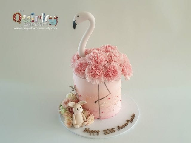 Flamingo Floral Buttercream cake