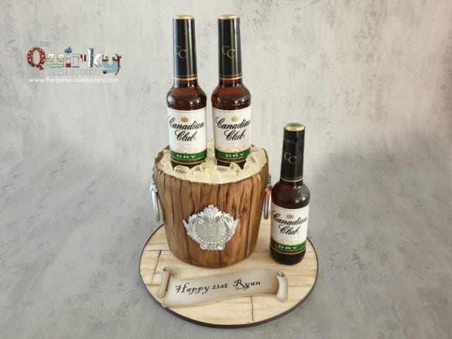 Canadian club wooden ice bucket cake
