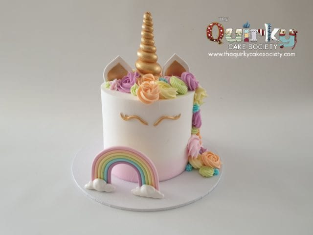Unicorns and Rainbow buttercream cake