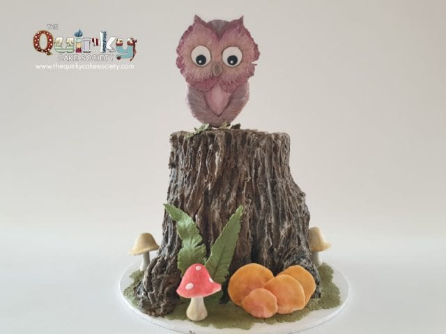 Owl on Buttercream Tree Stump Cake